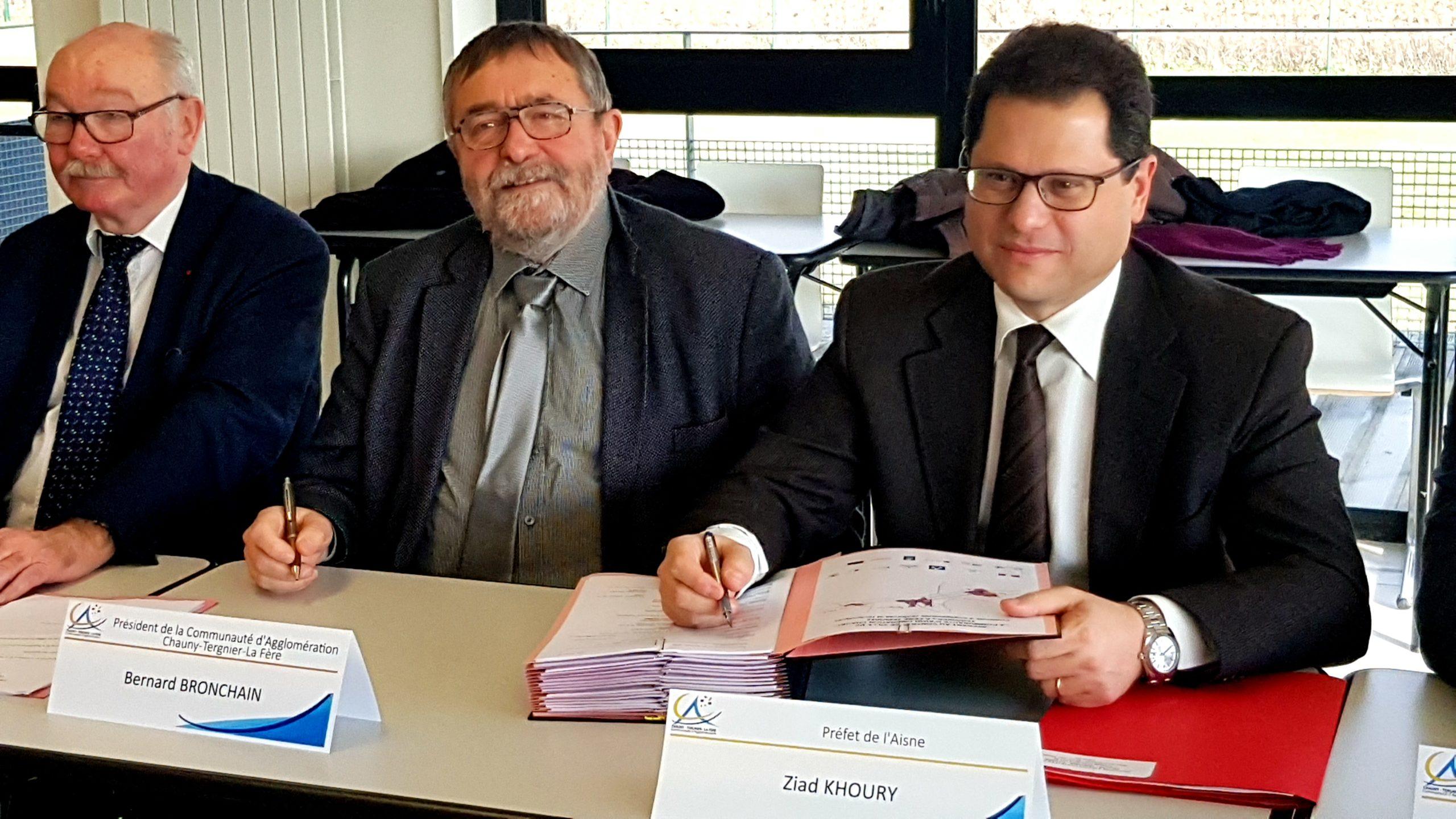 signature avenant contrat de ville préfet de l'aisne et président de la CA CTLF
