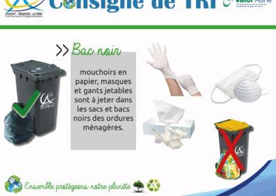 consigne de tri coronavirus gants mouchoirs masques jetables