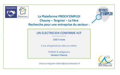 PROCH' EMPLOI – ELECTRICIEN CONFIRME H/F