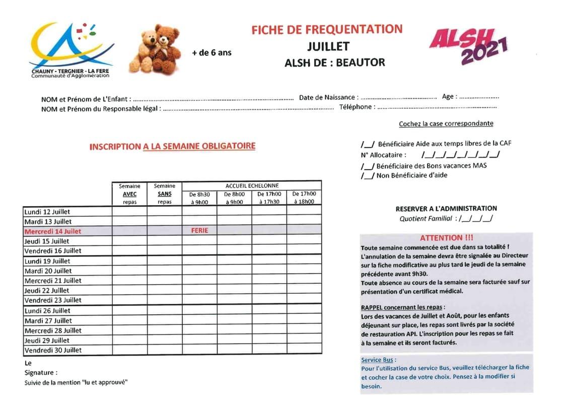 Fiche Inscription ALSH Beautor moins de 6 ans Vacances d'Hiver 2021 _ Communauté d'Agglomération Chauny Tergnier La Fère