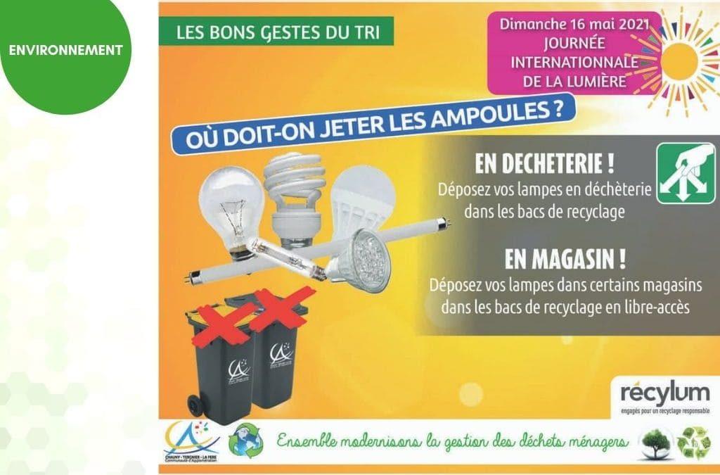 Les ampoules se recyclent, ne les jetez pas dans les poubelles