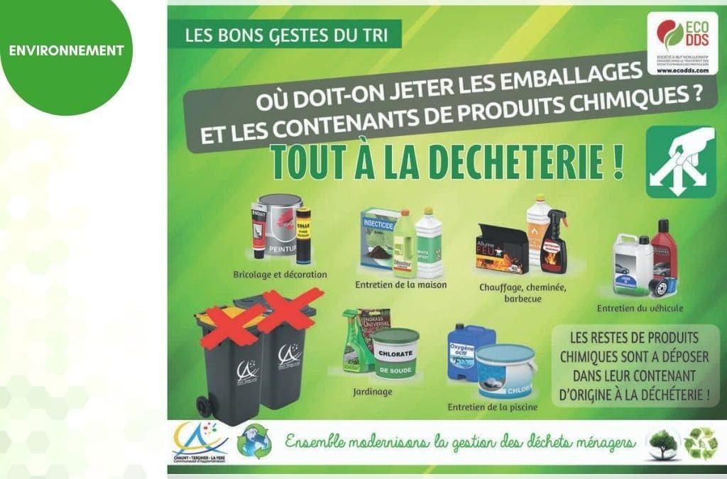 Produits chimiques : contenants et emballages à tous à la déchèterie